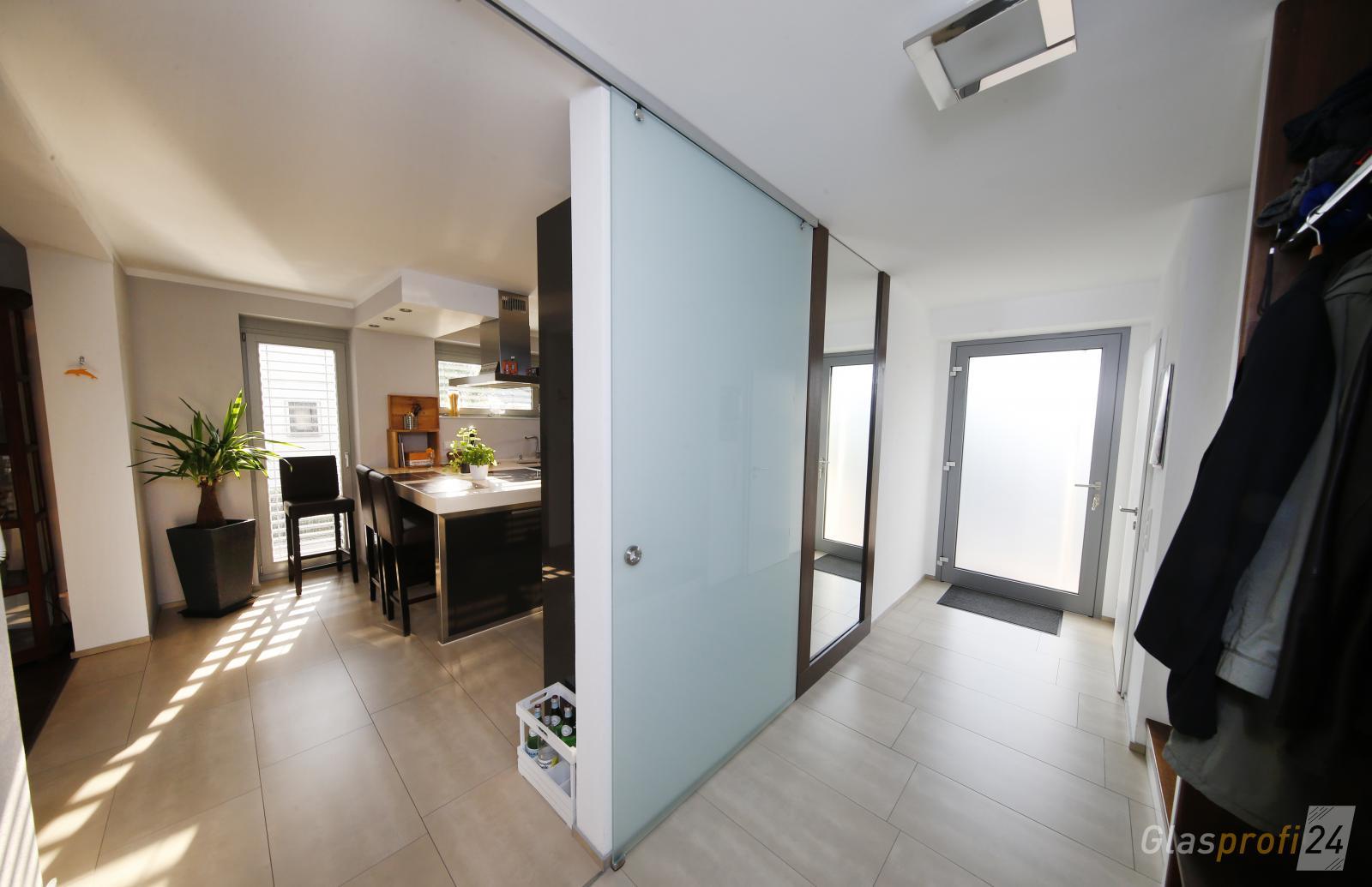glasschiebet r mit alu beschlag glasprofi24. Black Bedroom Furniture Sets. Home Design Ideas