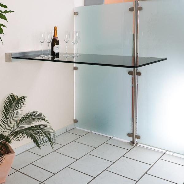 glas stehtisch freitragend mit wandklemmleiste glasprofi24. Black Bedroom Furniture Sets. Home Design Ideas