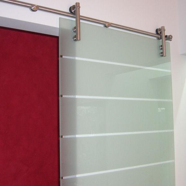 Schiebetür glas design  Glasschiebetür mit Edelstahl-Beschlag Glasschiebetüren | GLASPROFI24