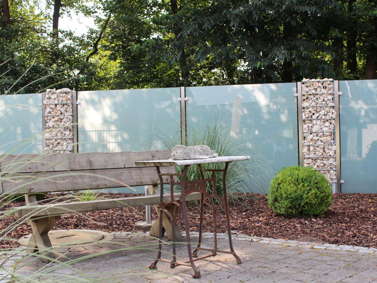 Sichtschutz aus glas f r den garten glasprofi24 for Gartenschmuck aus glas