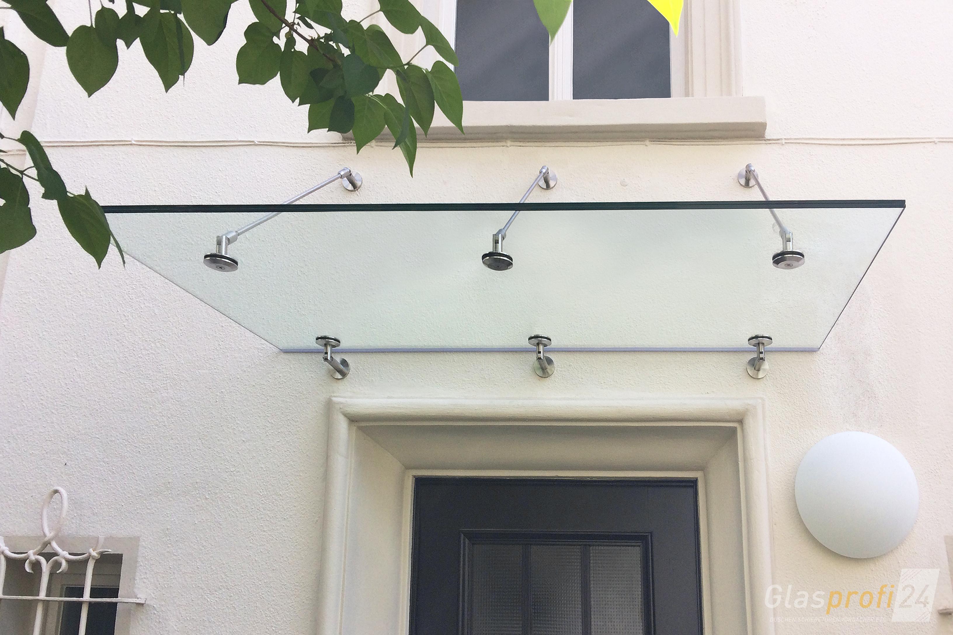 haust r glas vordach punto mit punkthaltern aus edelstahl glasprofi24. Black Bedroom Furniture Sets. Home Design Ideas