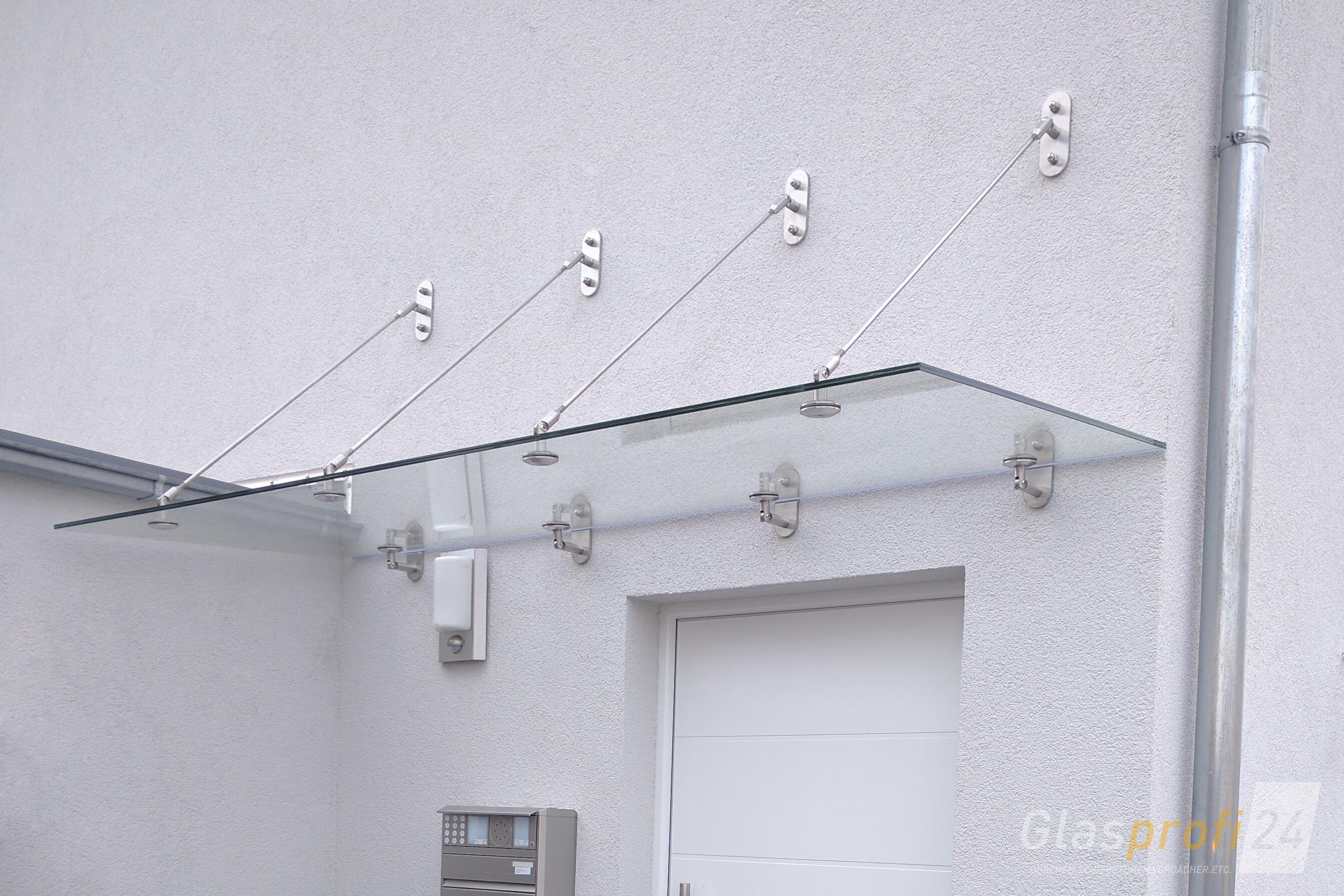 haust r glas vordach punto mit punkthaltern aus edelstahl. Black Bedroom Furniture Sets. Home Design Ideas
