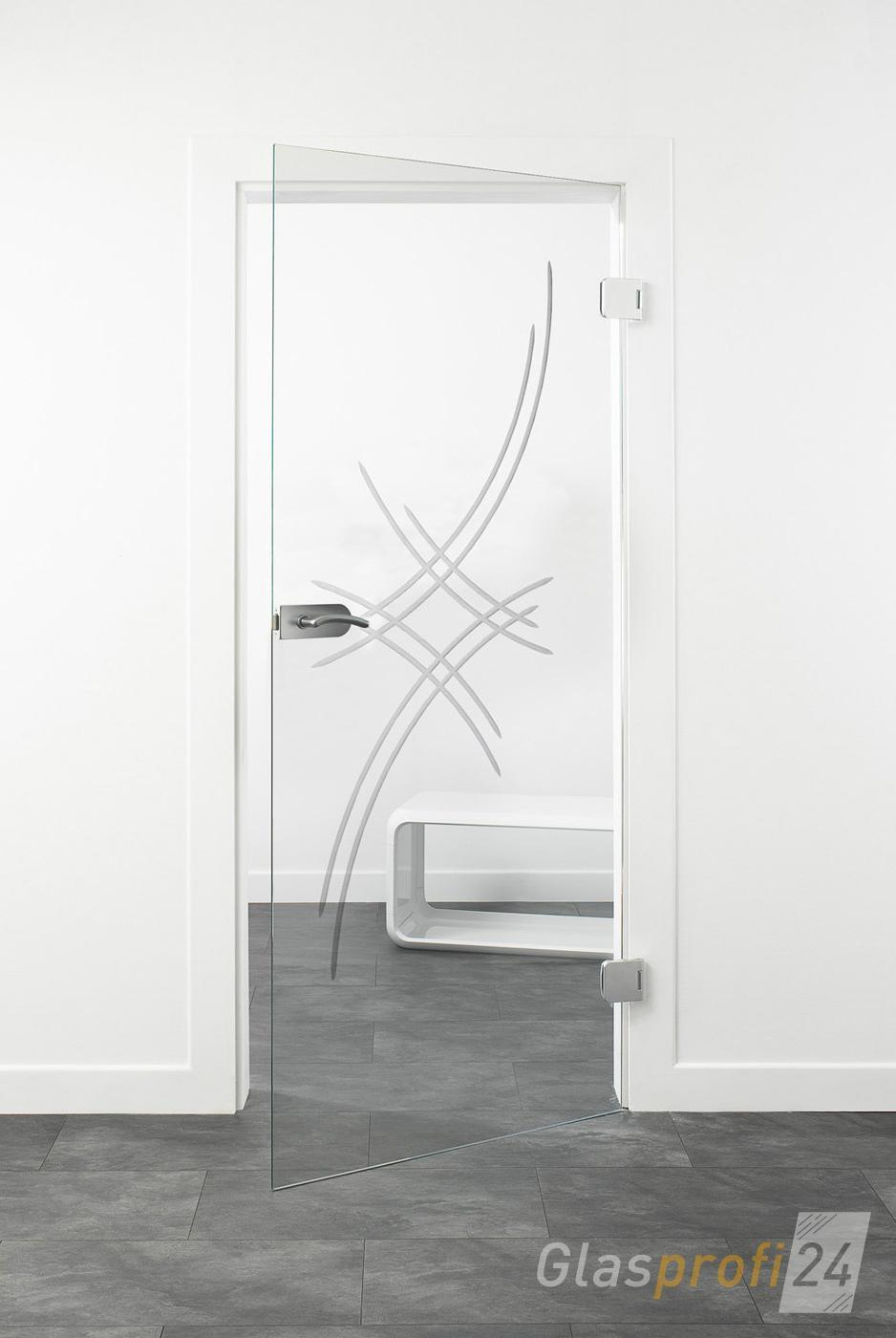 hochwertige glas-zimmertür mit edelstahl-beschlägen | glasprofi24