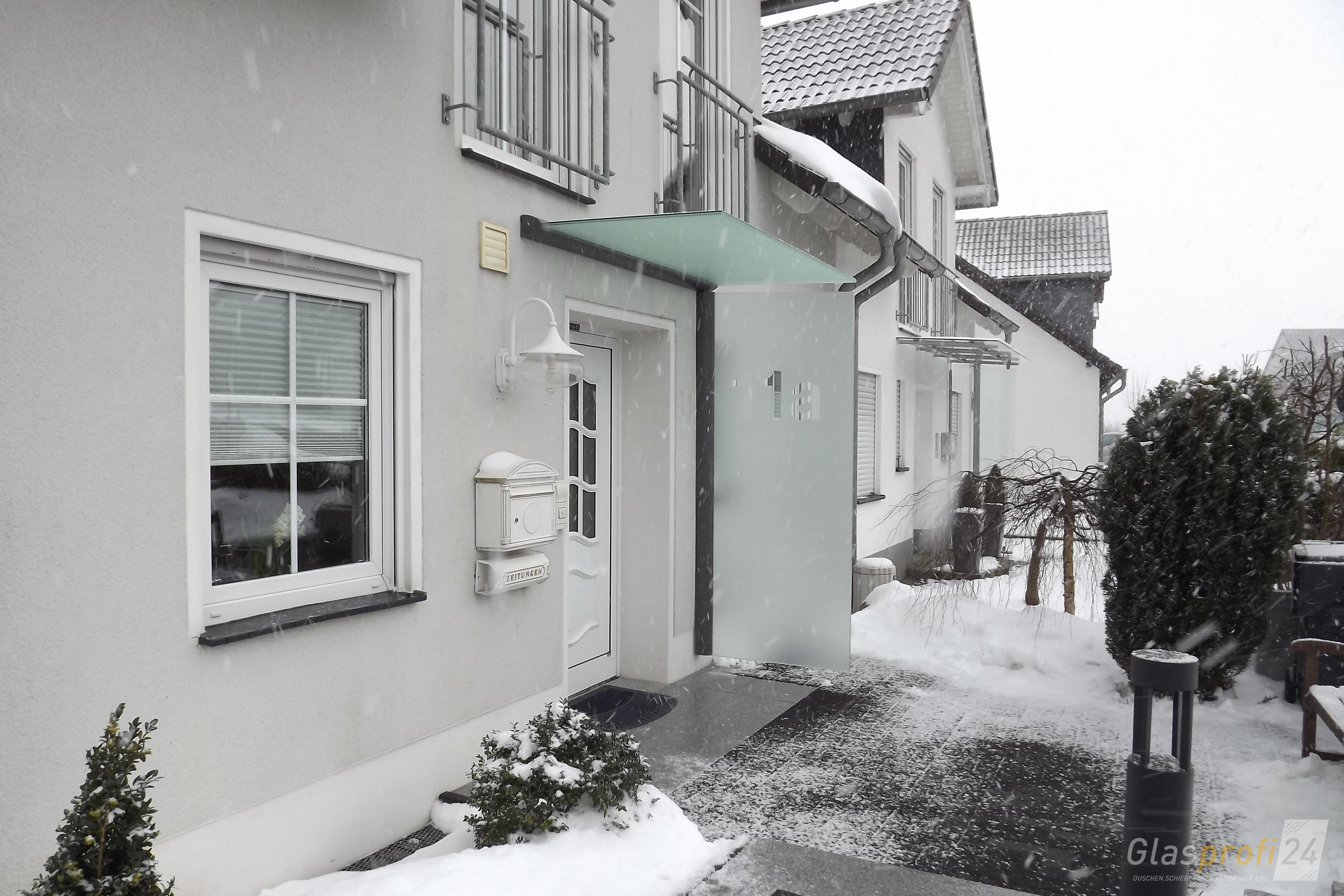 Vordach Mit Seitenteil Als Haustur Windfang Glasprofi24