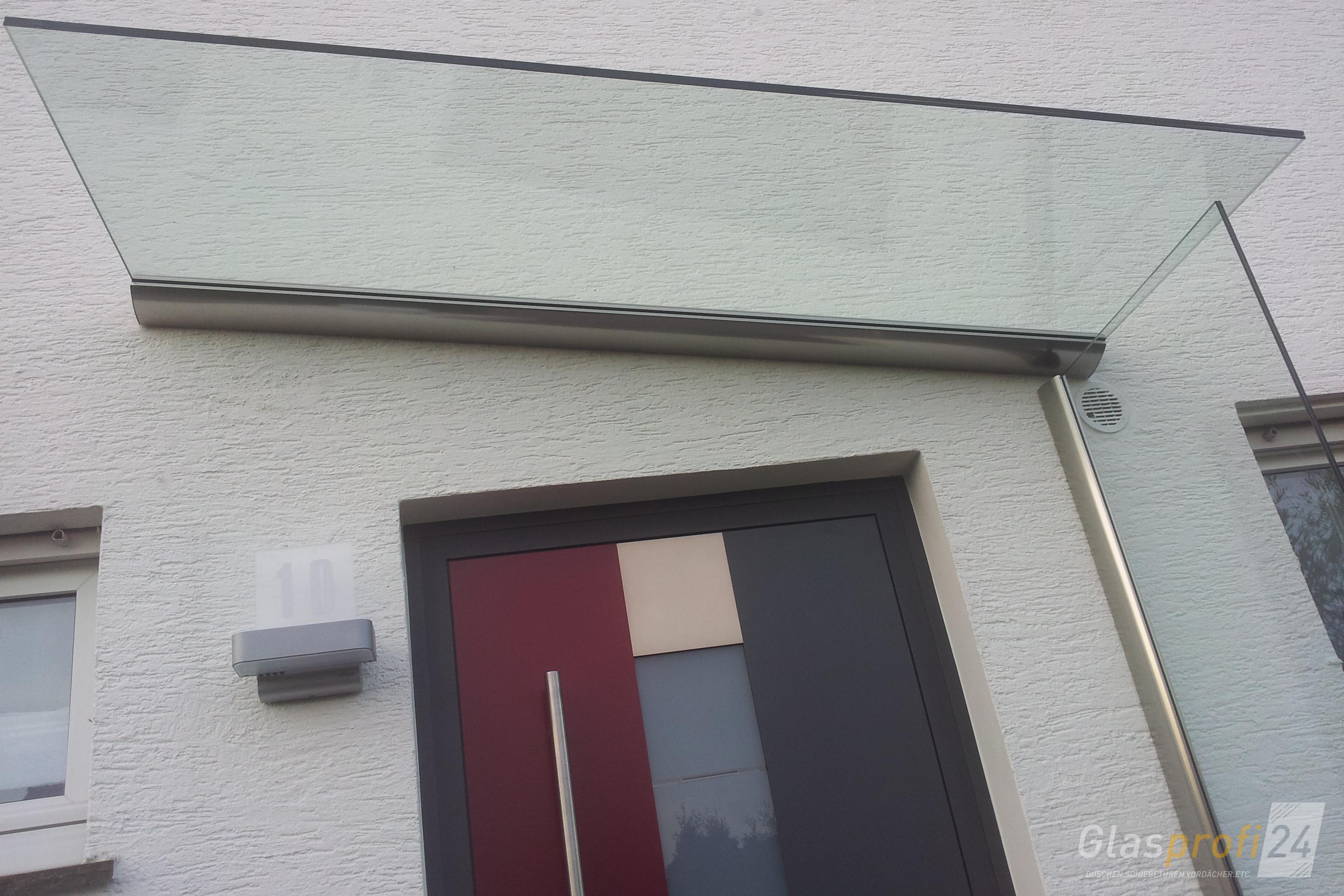 Sehr Vordach mit Seitenteil als Haustür-Windfang | GLASPROFI24 OJ33