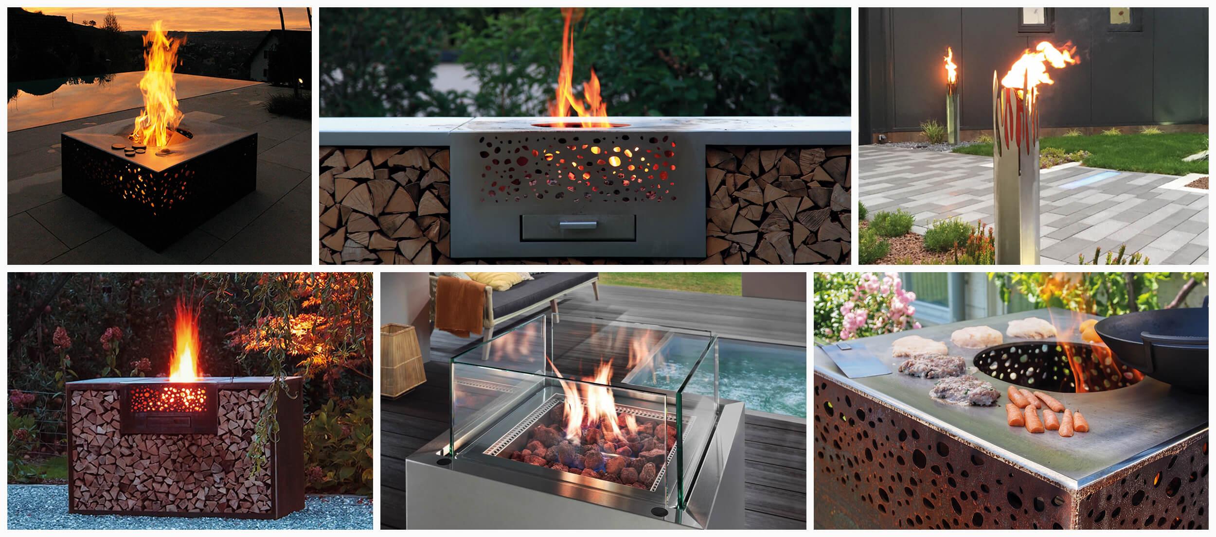 Feuerstelle Garten Collage
