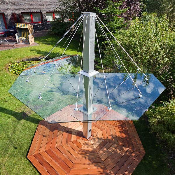 Glas-Schirm für Garten und Terrasse