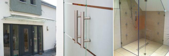 Glasvordach Glasschiebetür Glasdusche
